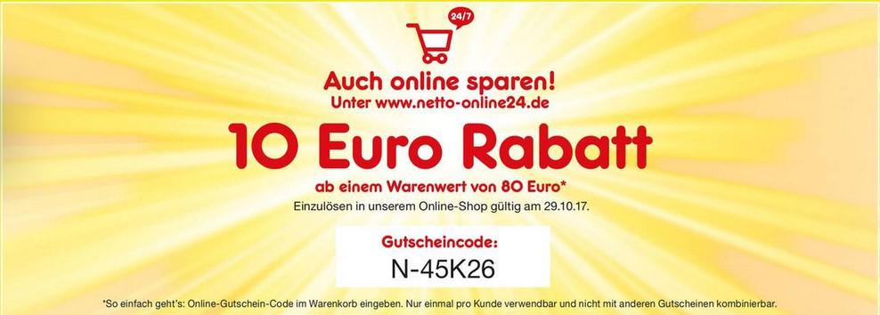 10€ Rabatt bei Netto-Online am 29.10.17 (MBW 80€)