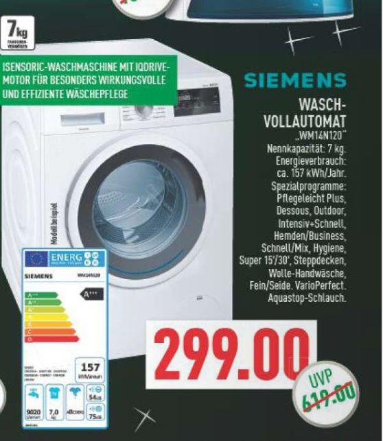 [Marktkauf Rhein-Ruhr] Wamaschine Siemens WM14N120 (7kg, A+++, 1400 U/Min)