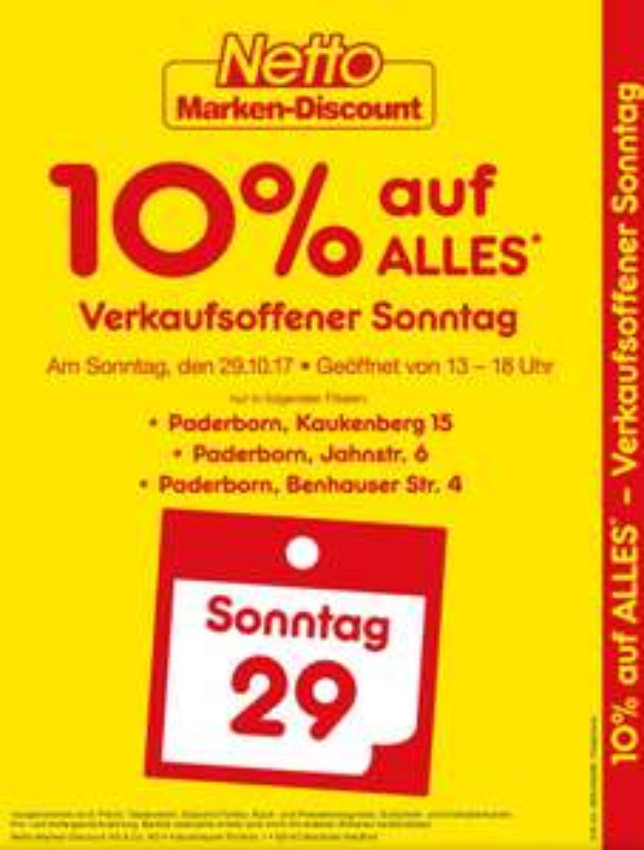 [Lokal] Netto Paderborn 10% verkaufsoffener Sonntag am 29.10