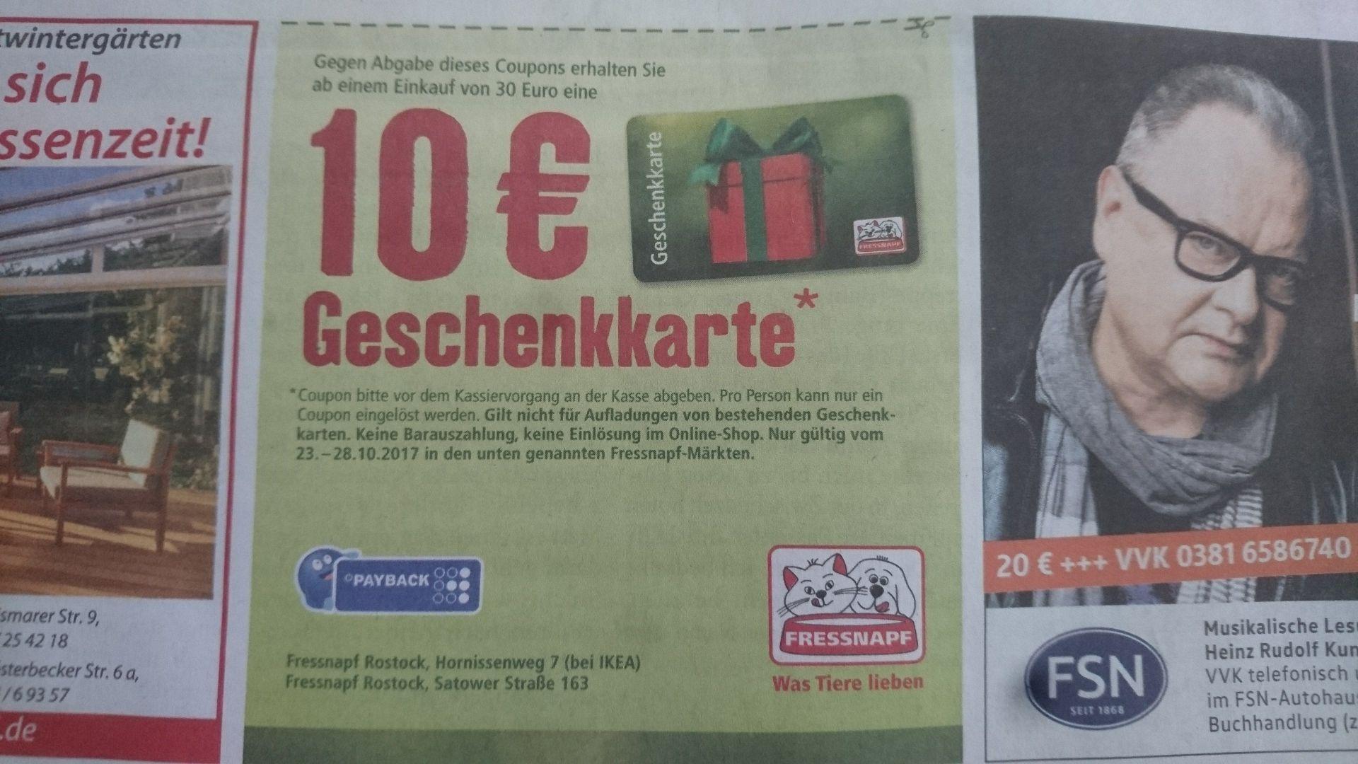 Lokal Rostock: 10€ Geschenkkarte für Fressnapf ab 30€ Einkaufswert