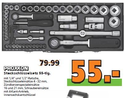 """Proxxon Steckschlüsselsatz 23040 1/2"""" + 1/4"""" 55-tlg. für 55 Euro [Globus Baumarkt] - Im Online-Shop für 50 Euro"""