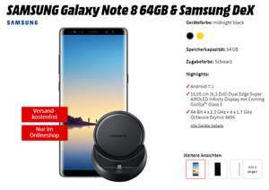 SAMSUNG Galaxy Note 8 64GB & Samsung DeX bei Mediamarkt mit 4GB und Allnet Flat für 41,99 Monatlich