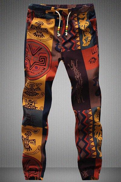 Drawstring Gecko Pattern Print Narrow Feet Men's Jogger Pants - L