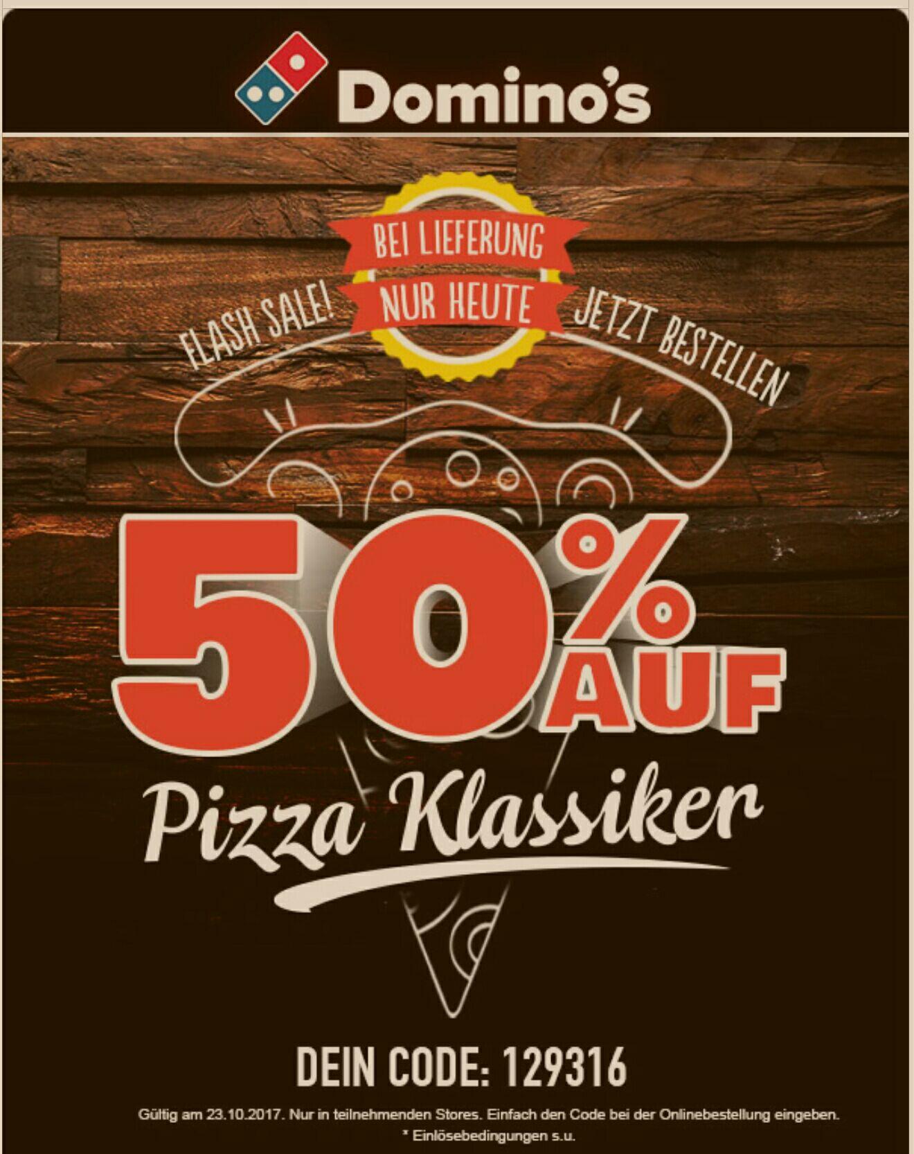 Dominos Pizza 50% auf Klassik Pizza Bestellungen