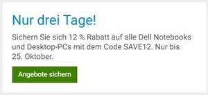 12% Rabatt auf alle Dell Notebooks und Desktop-PCs [@Dell.de]