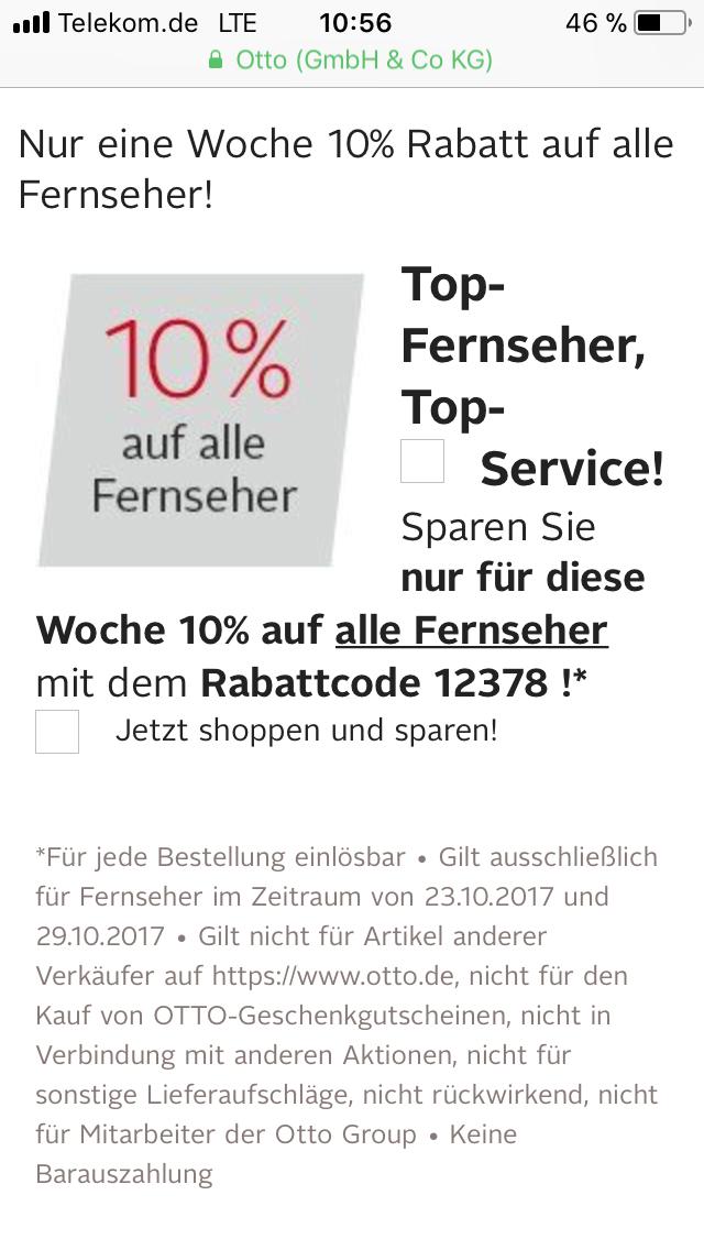 Otto 10% auf alle Fernseher - z.B. Samsung UE49MU6279 für 617,94€ uvm.