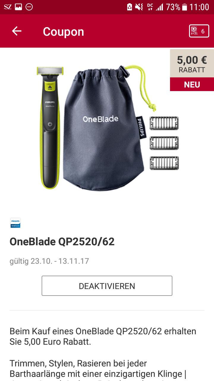 [Rossmann] 5€ Rabatt auf OneBlade One Blade QP2520/62 --> für 24,99 €