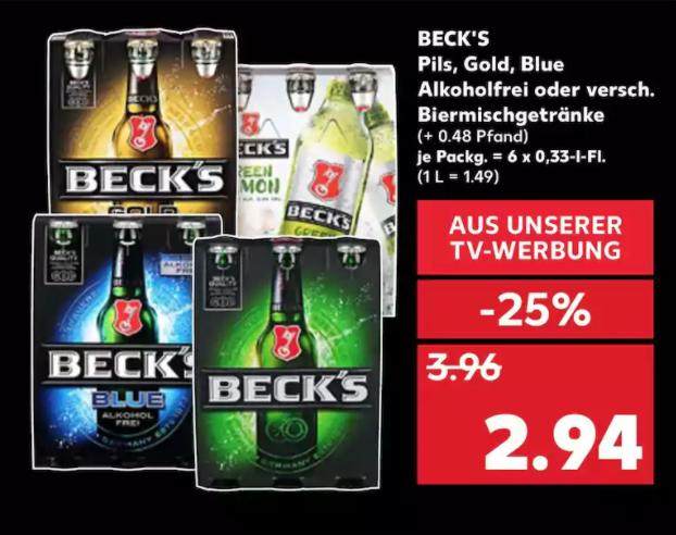 [Kaufland ab 23.10] Beck's Sixpack versch. Sorten (1 L  = 1,49€)
