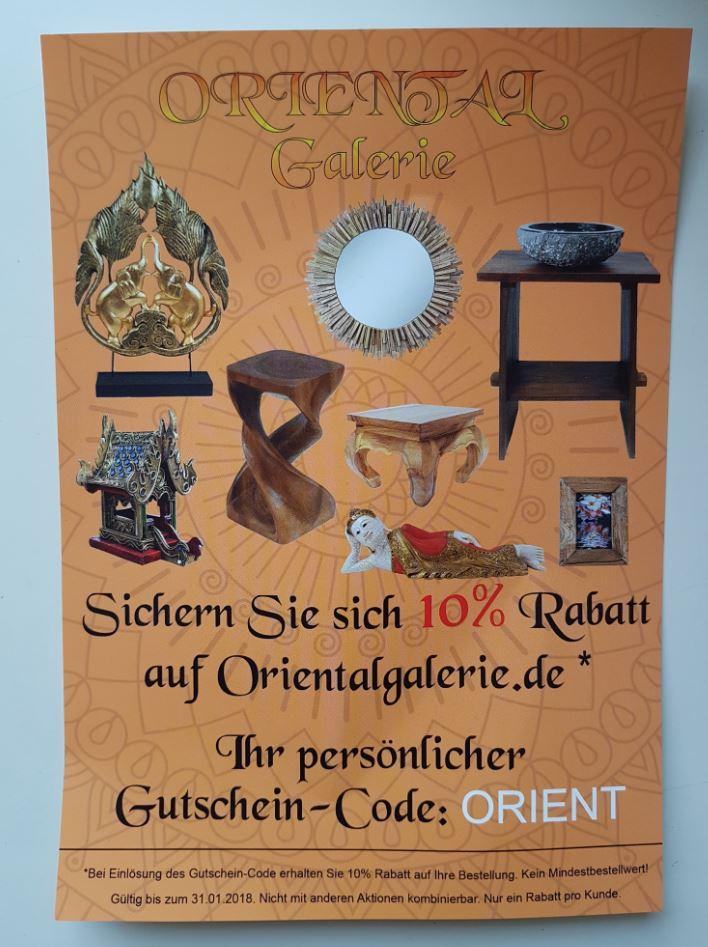 10% auf das gesamte Sortiment orientalgalerie.de (Asia Möbel+Deko)