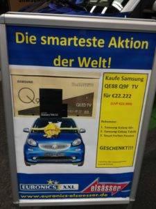 [Lokal] Euronics Sindelfingen - Samsung 88 Zoll + Smart Fortwo + Galaxy S8+ + Galaxy Tab 3S statt 33.607€