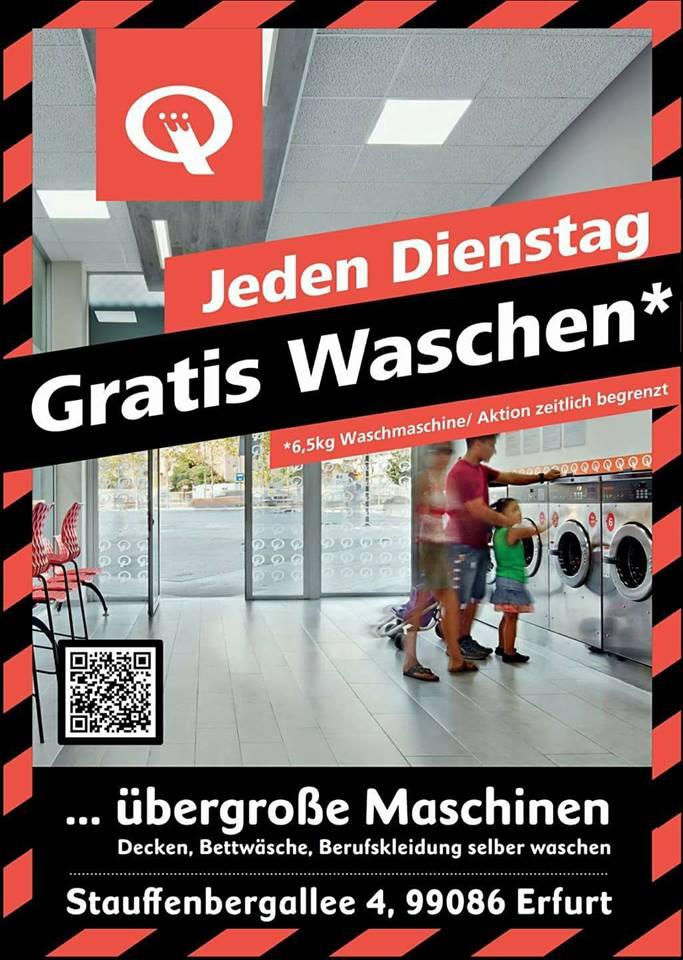 [Lokal Erfurt] Jeden Dienstag kostenlos Wäsche waschen (6,5 Kg) im Waschsalon Speed Queen in Erfurt