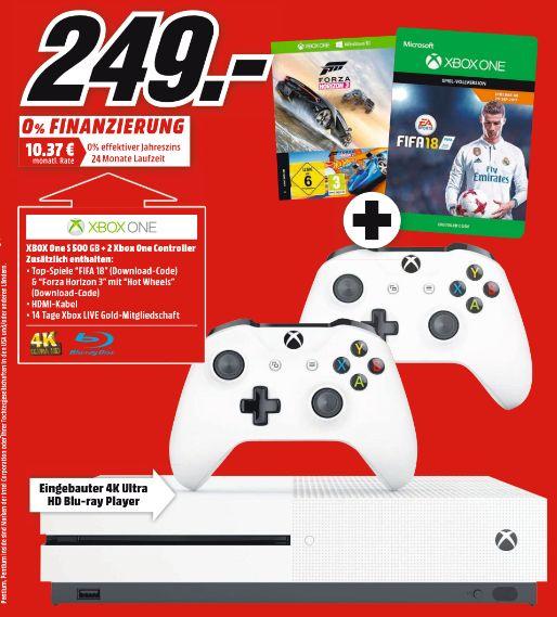 [Mediamarkt] MICROSOFT Xbox One S 500GB Konsole - Forza Horizon 3 Hot Wheels Bundle + FIFA 18 + 2.Controller für 249,-€**In Peine,Stathagen und Holzminden für 239,-€