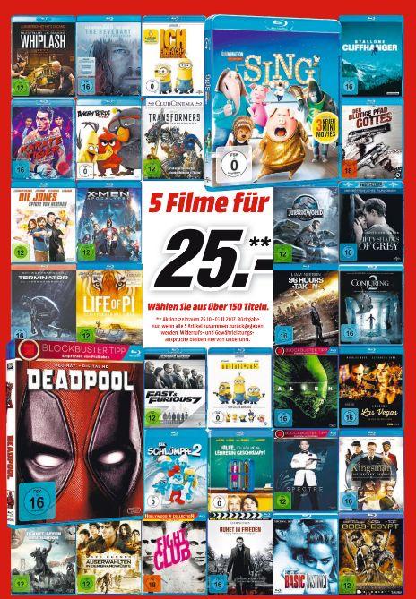 [Mediamarkt vom 25.10 - 01.11] Multibuy Aktion // 5 ausgewählte Blu-Ray Filme für 25,-€ (Auswahl aus 150 Titeln] unter anderem mit Deadpool, Sing.F&F 7, Kingsman und weitere