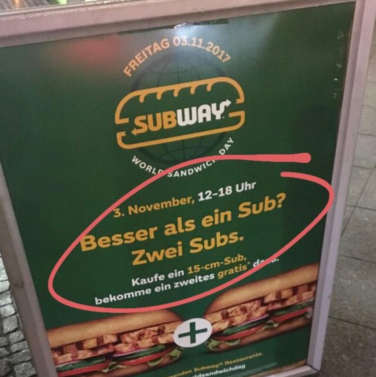 Subway world sandwich Tag 30cm sub zum Preis von 15cm