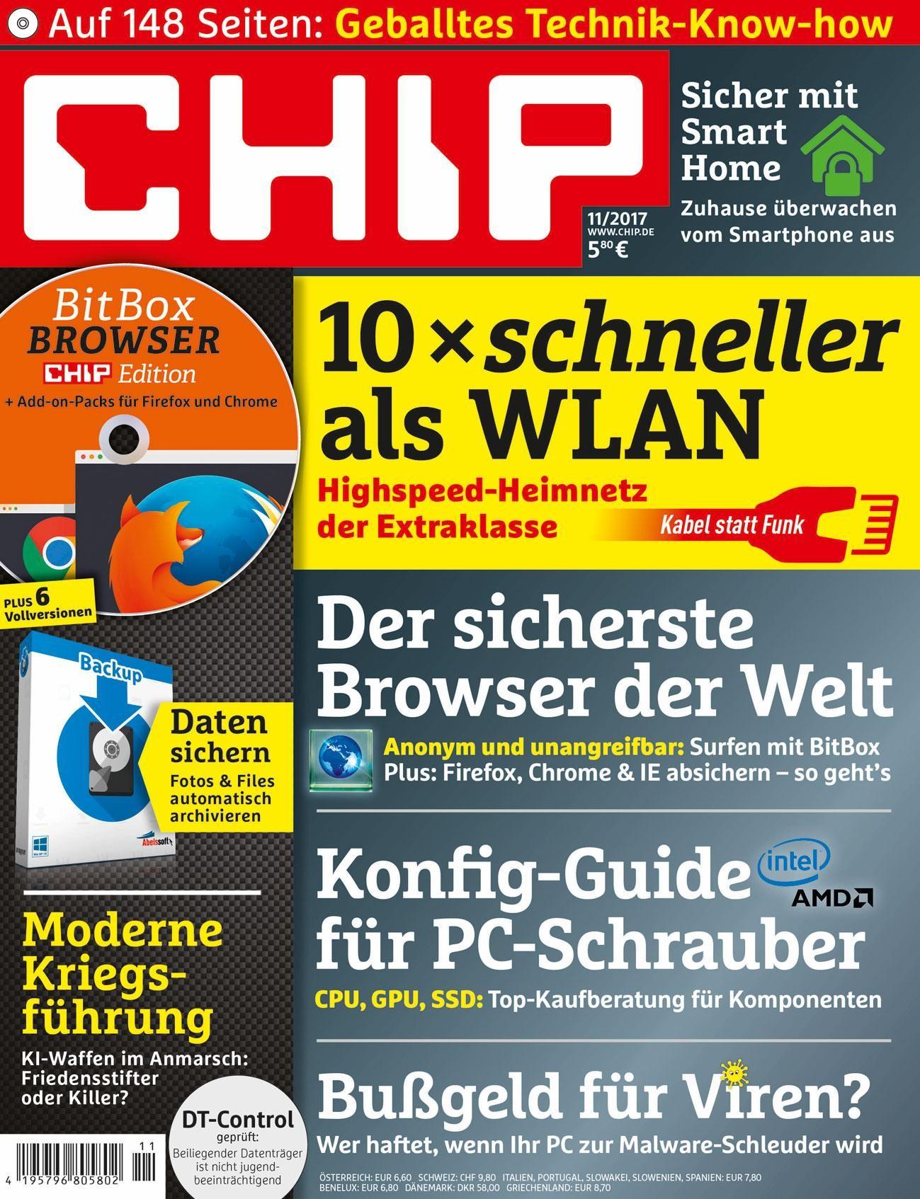 CHIP inkl. DVD Halbjahresabo für 34,80 € oder CHIP Premium für 43,20 € mit 30€ Verrechnungsscheck
