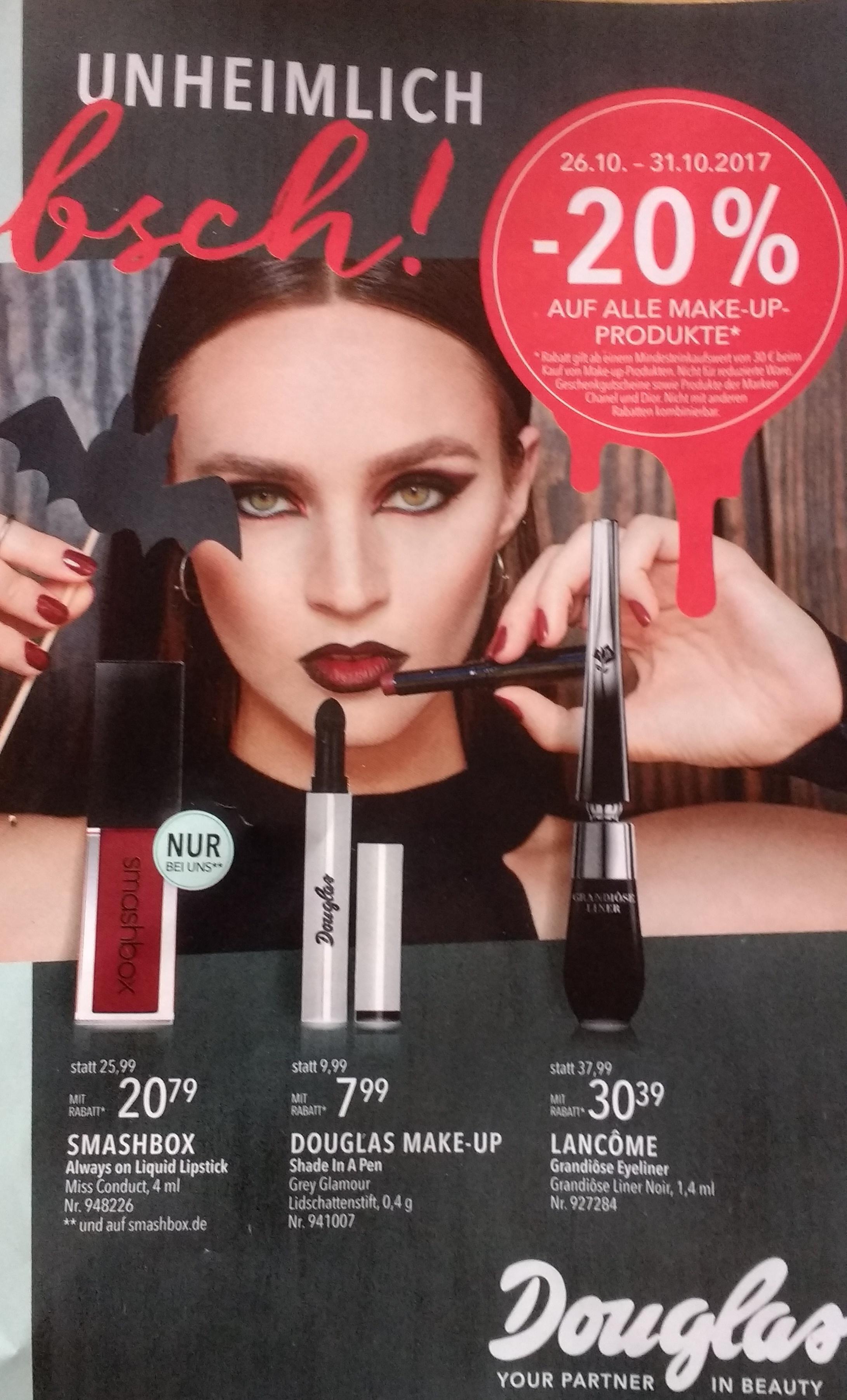 Douglas.de 26.10.-31.10.: 20% auf alle Make-Up Produkte (außer Chanel+Dior) bei MBW 30 Euro