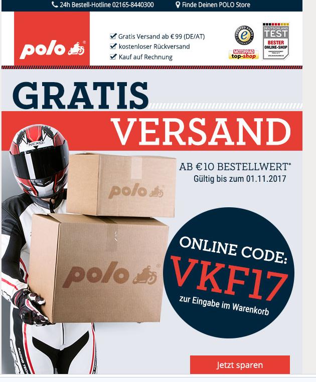 [Polo Motorrad] kostenloser Versand ab 10€ Mbw bis 1.11