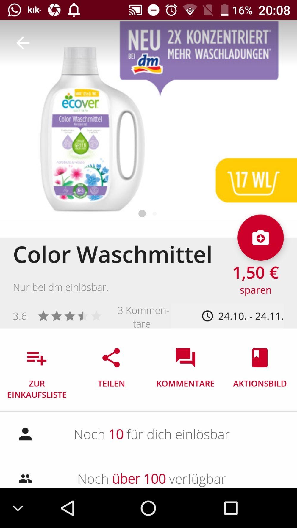 (Scondoo)Ecover Waschmittel 1,50€ Cashback (dm only)