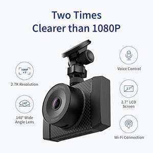 YI Ultra DashCam 2,7K 140° Weitwinkelobjektiv Auto Kamera mit MEMS 3-Achse G-Sensor, Sprachbefehl und LCD Screen