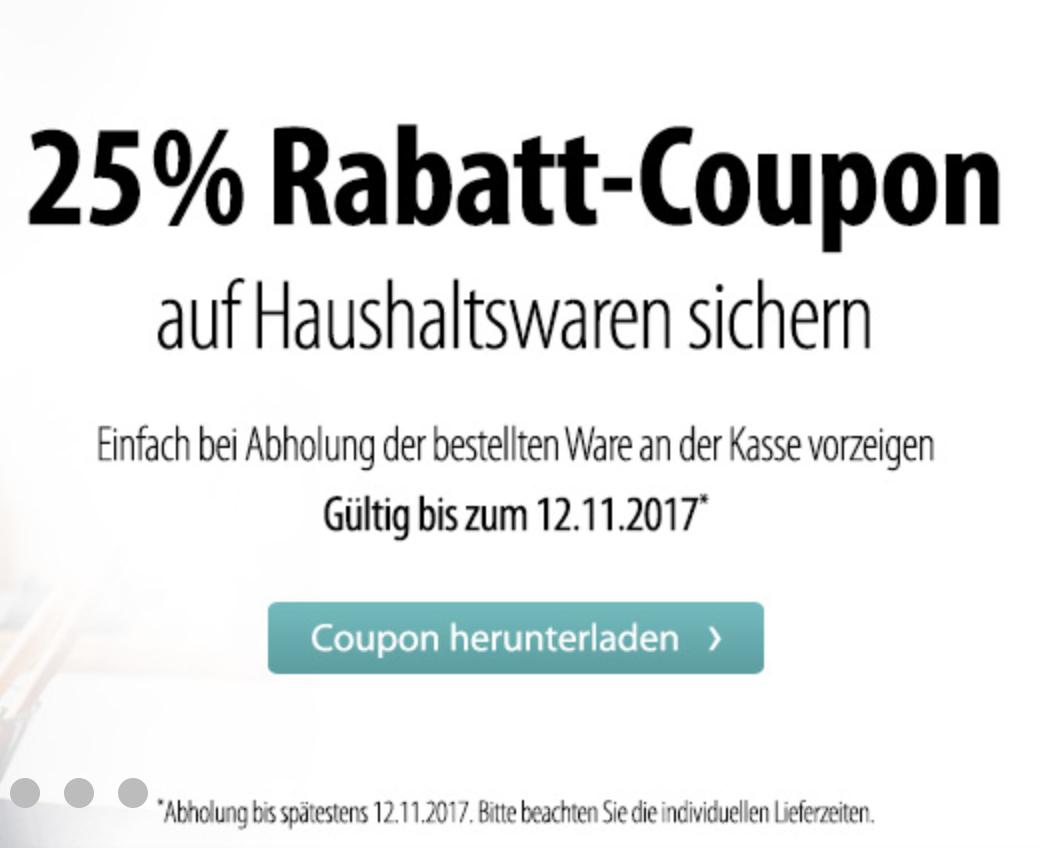 [Mueller - Coupon + Abholung] 25% Rabatt auf Haushaltswaren z.B SodaStream Crystal 2.0 für 74,99€
