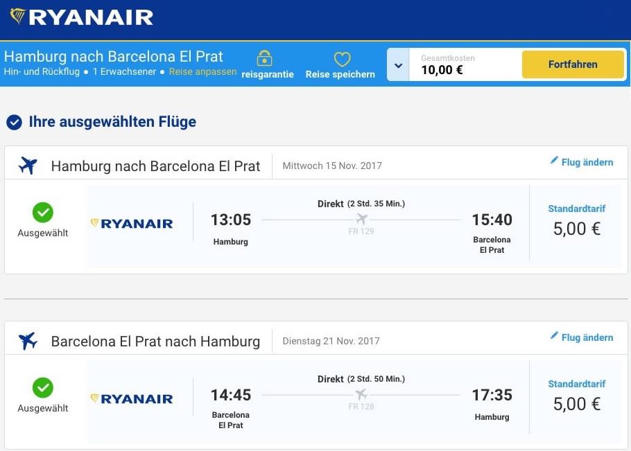 Ryanair: Flüge von Hamburg nach Barcelona - Hin + Zurück für insg. 10,- EUR