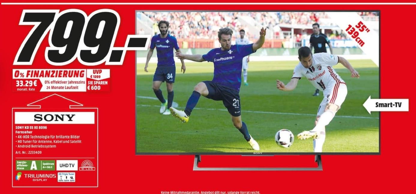 (Lokal MM Lübeck) Sony KD-55XE8096 139 cm (55 Zoll) Fernseher (Ultra HD, HD Triple Tuner, Android-TV)