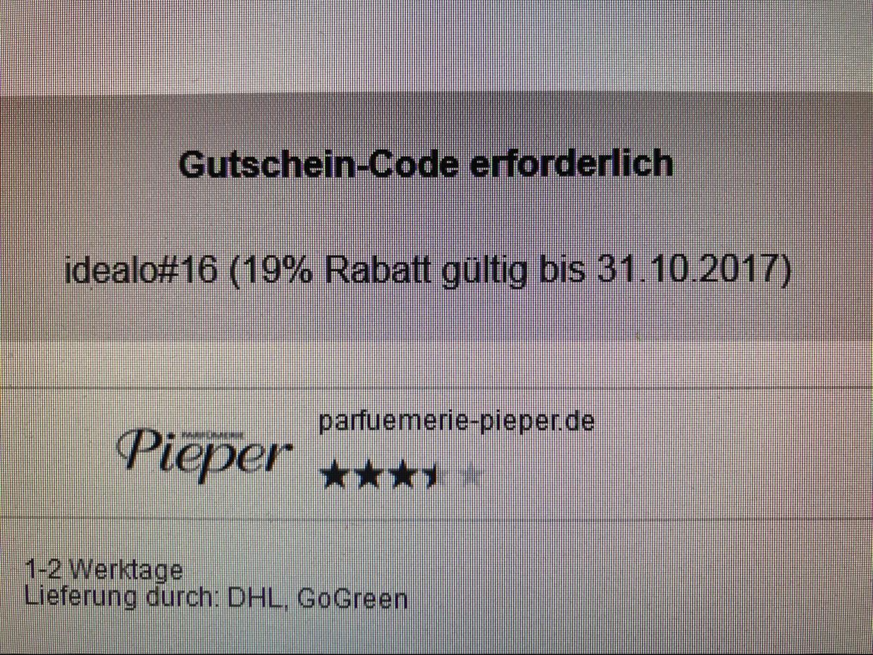 19% Rabatt bei Parfümerie Pieper mit Idealo Gutschein
