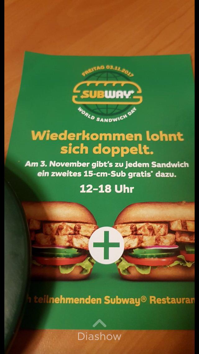 [Subway 03.11.17] Zu jedem Sandwich gibt es ein 15cm Sub gratis! *World Sandwich Day*