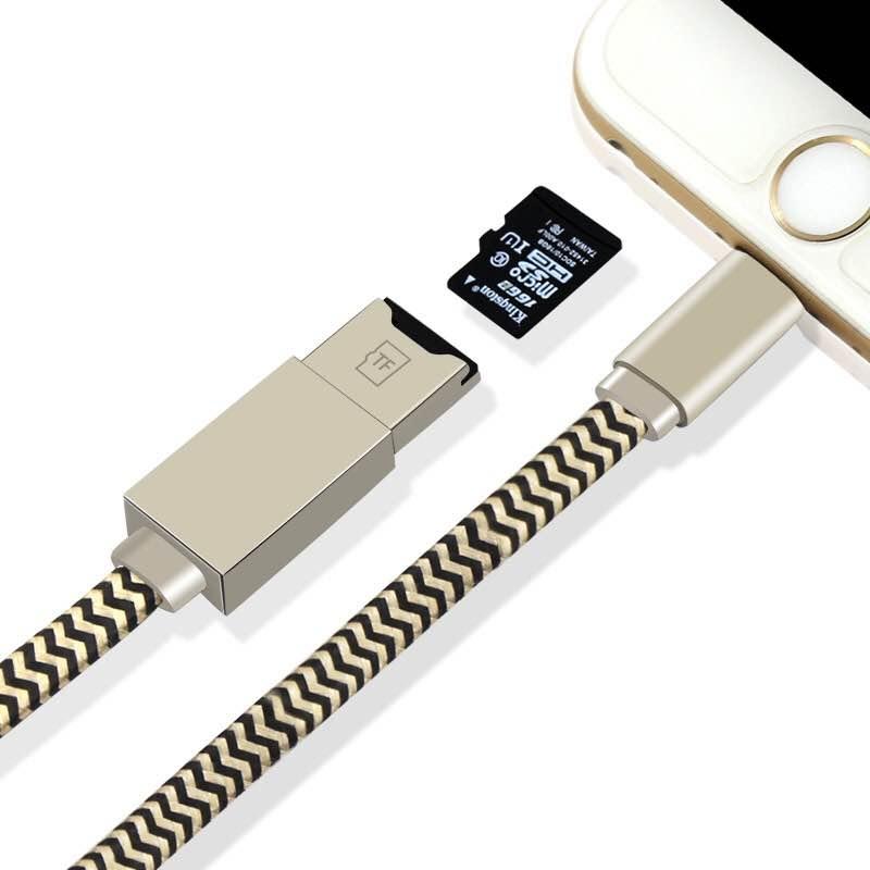 2 in 1 Lightning-Kabel mit microSD Kartenlesegerät für iOS und Computer