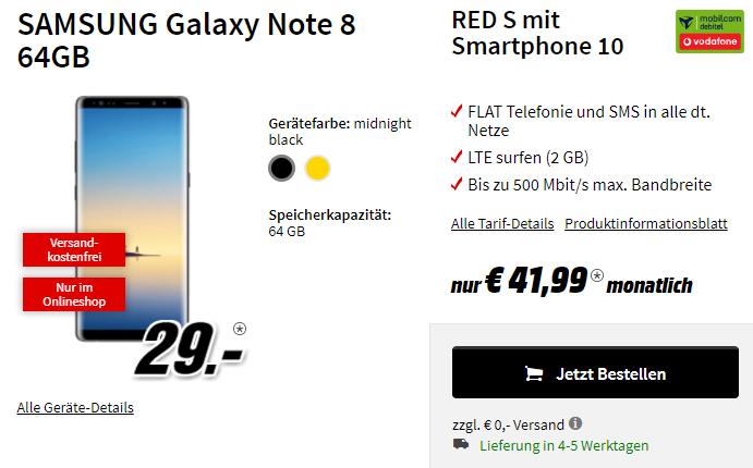 SAMSUNG Galaxy Note 8 64GB mit 2 Gb LTE und Allnet Flat (Mobilcom Debitel - Vodafone)