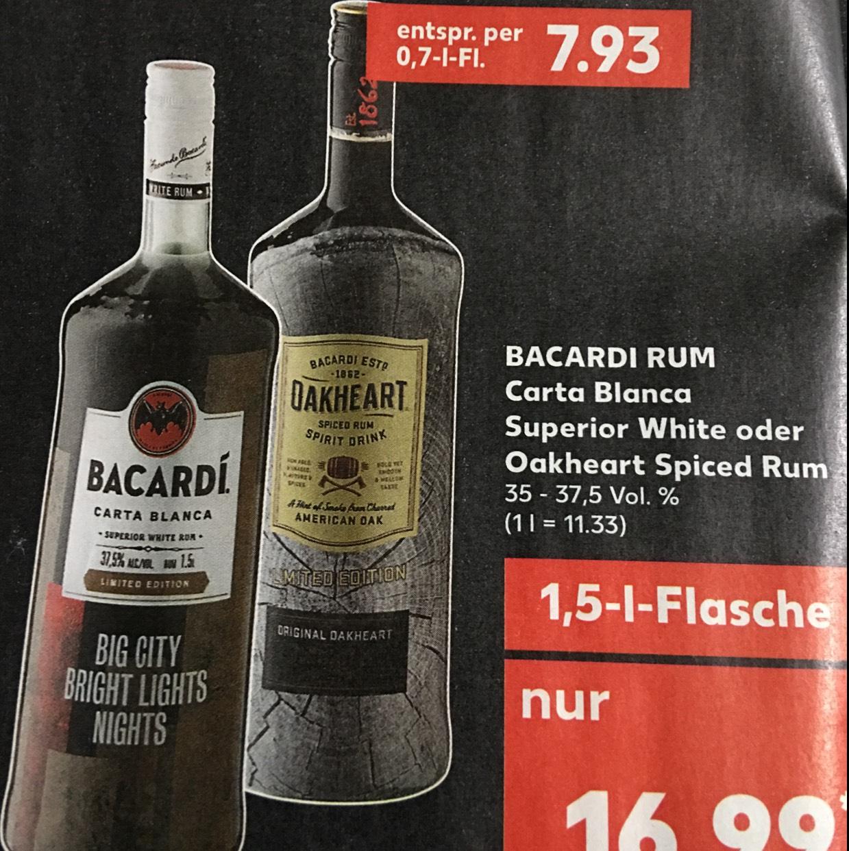 [Kaufland] Bacardi Blanca oder Oakheart 1.5 Liter