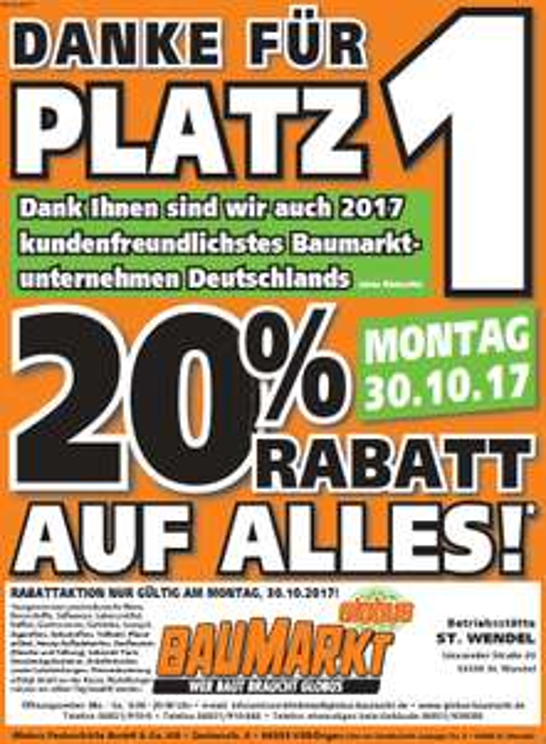 "[Globus Baumarkt] 20% Rabatt auf ""Alles"" am 30.10.17"