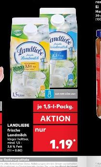 Kaufland - Landliebe Frisch Milch 1,5 Liter für 1,03 / Liter für 0,68 Euro
