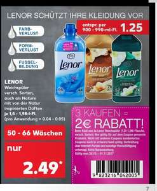Kaufland - Lenor Weichspüler kaufe 3 je zu 1,83 Euro