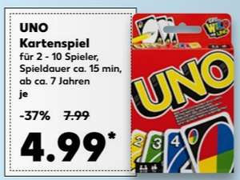 Kartenspiel UNO von Mattel für 4,99 € @ Kaufland bundesweit ab 02.11.