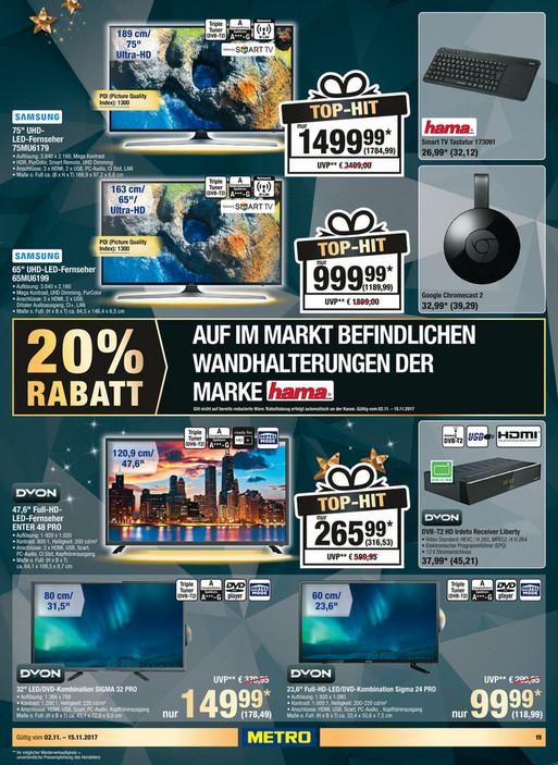 """Samsung 75MU6179   75"""" UHD LED TV --- Metro zum Bestpreis"""