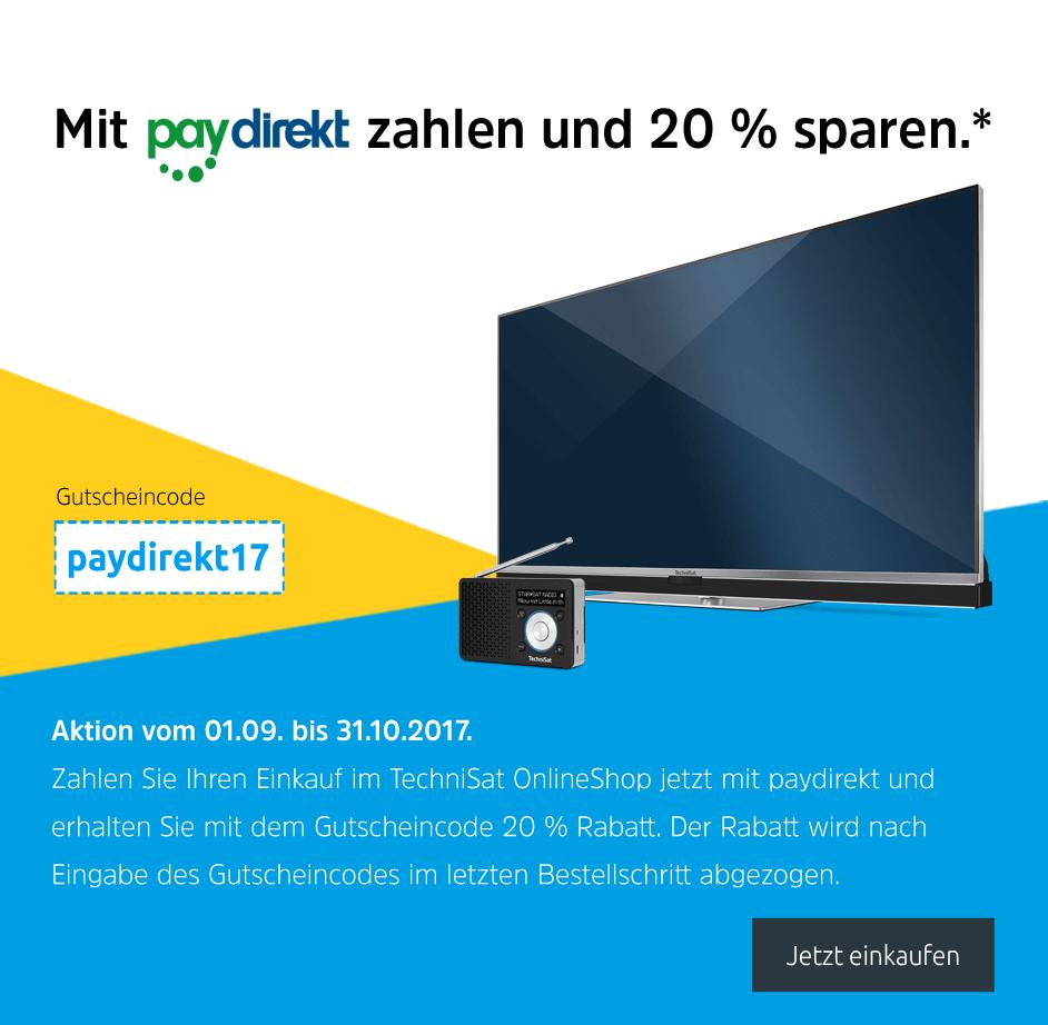 20% extra Rabatt auf Alles im TechniSat Shop mit Paydirekt - z.B. Technicorder ISIO STC für 215,99€