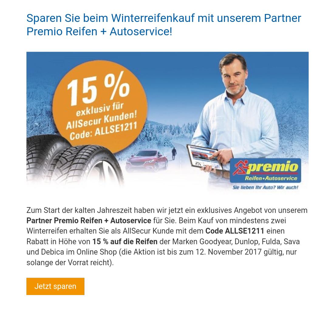 [Allsecur Kunden] 15% Rabatt auf Winterreifen für die Marken:Goodyear, Dunlop, Fulda, Sava und Debica im Online Shopvon Premio