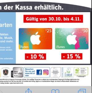 Lidl Österreich - iTunes Karten Aktion 25€ - 10% 50€ - 15%