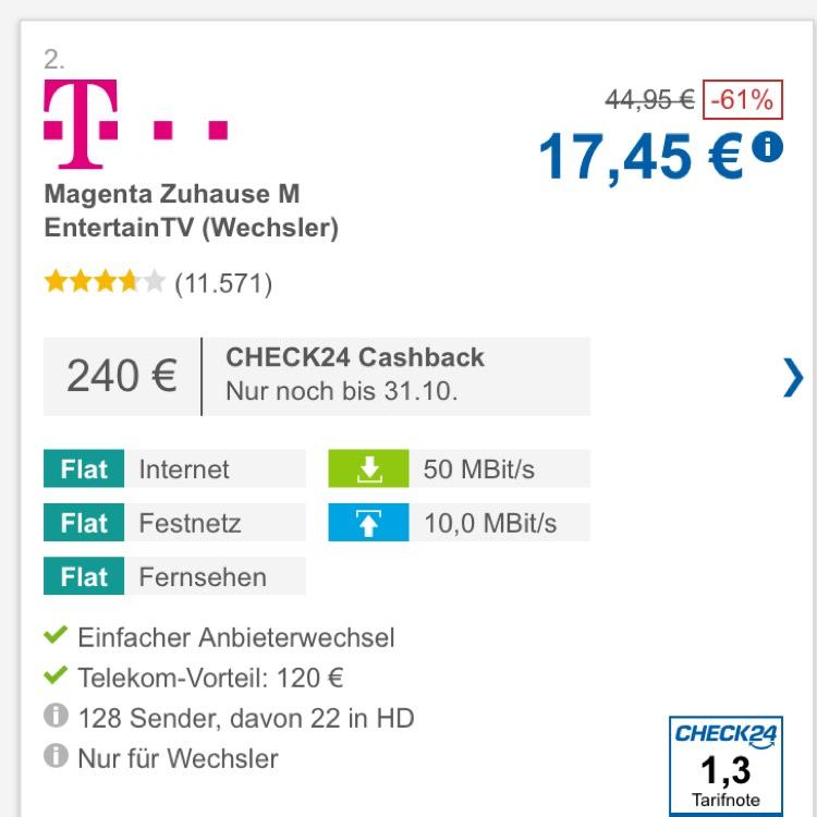 Telekom Magenta Zuhause M mit Entertain (für Wechsler) für 17,45€ mtl. durch Cashback