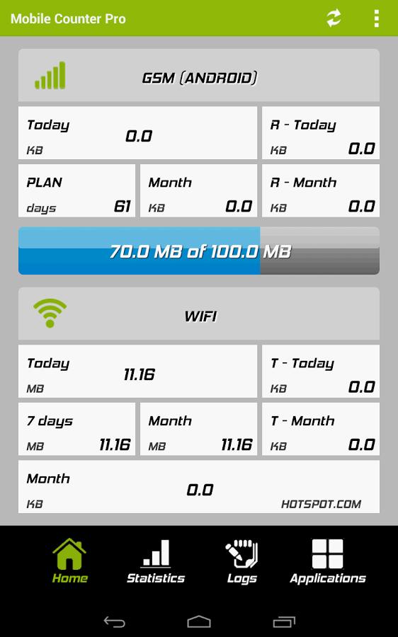 [Android] Mobile Counter Pro - 4G, WIFI kostenlos statt 2€