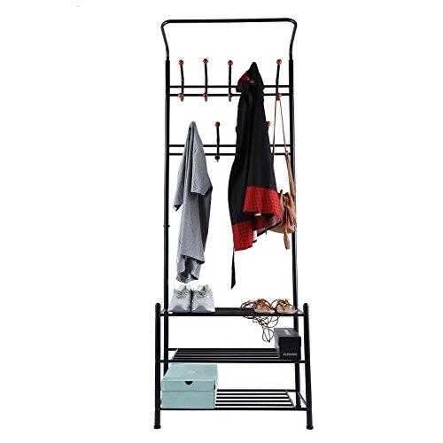 [Amazon Prime] Seelux Kleiderständer Garderobenständer mit 18 Haken und  3 Schuhablagen aus Metall (Schwarz oder Weiß) für 18,91€