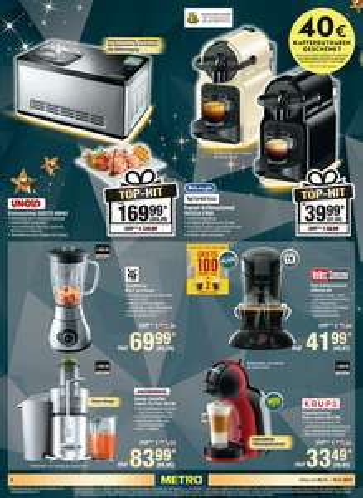 Nespresso Kaffemaschine Delonghi Inissia EN80 Kaffeeautomat inkl. 40 Euro Nespresso Gutschrift Metro Markt