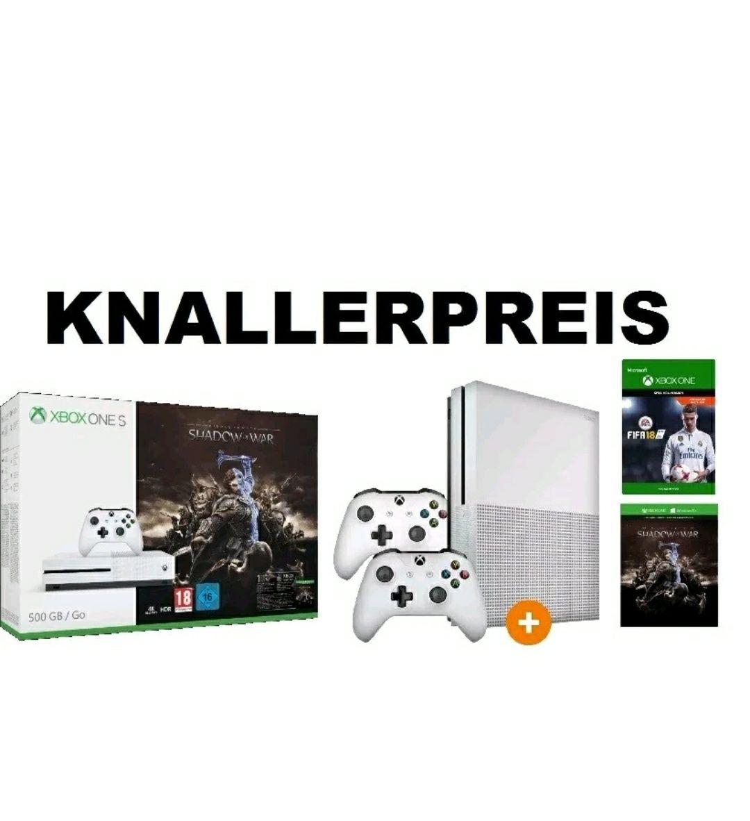 XBOX ONE S + 2 Controller + FIFA 18 + Mittelerde: Schatten des Krieges