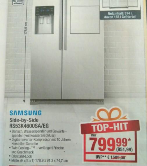 Samsung RS53K4600SA/EG Side-by-Side Edelstahl Kühlschrank