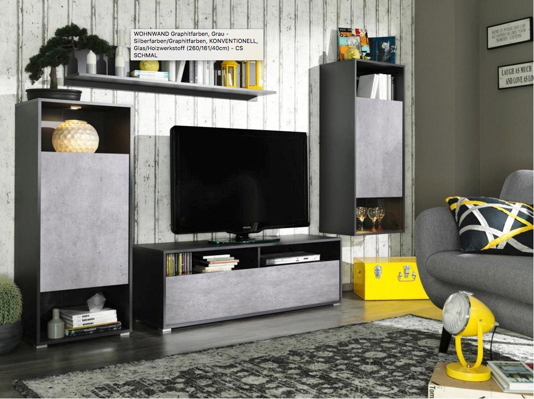 Moderne CS SCHMAL Wohnwand in grau / schwarz mit TV-Element, zwei Schrankelementen und einem Wandboard (260 x 161 x 40cm)