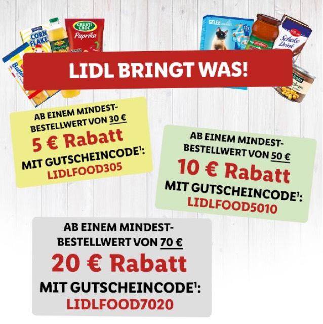 Lidl Online bis zu 20€ Rabatt bis zum 29.10.