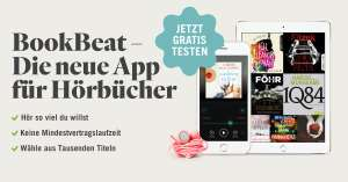 1 Monat BookBeat Hörbuch-Flatrate Kostenlos