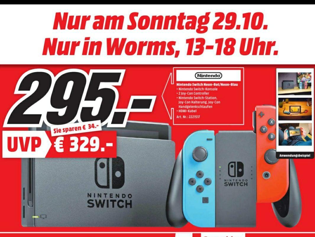Lokal Mediamarkt Worms. Nintendo Switch Neon Rot Blau