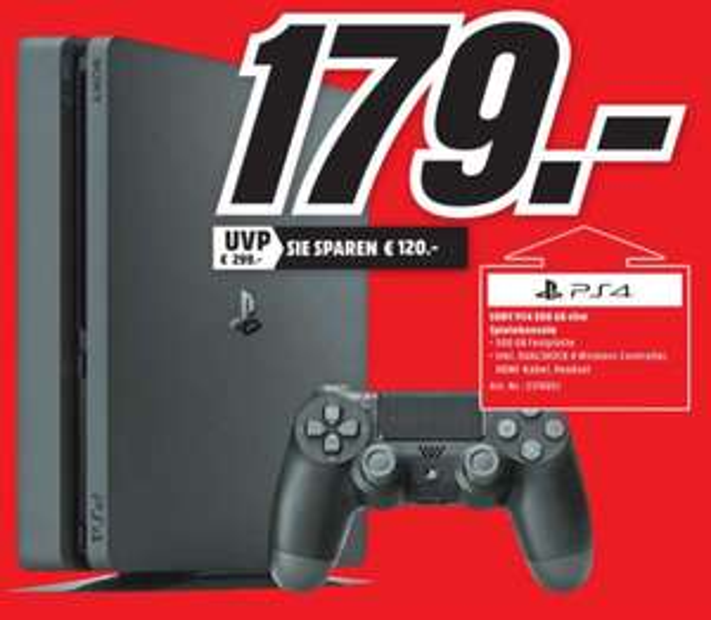 [Lokal Mediamarkt Gründau-Lieblos-Nur am Montag] Sony PlayStation 4 (PS4) Slim 500GB für 179,-€
